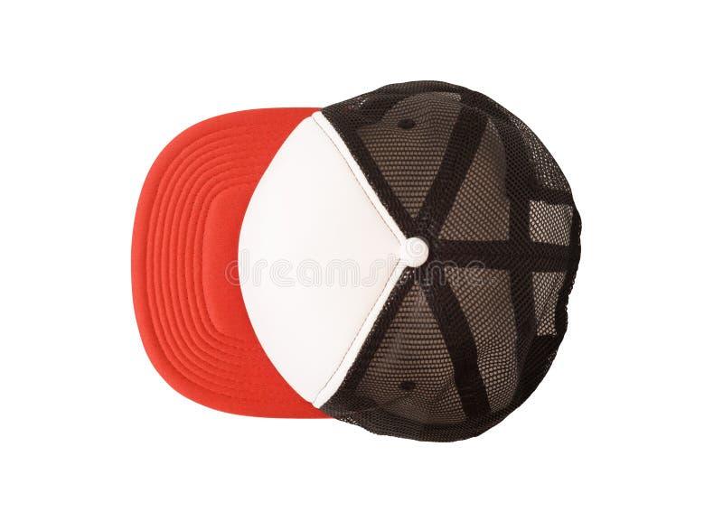 Maquette de casquette de baseball avec la maille noire images libres de droits