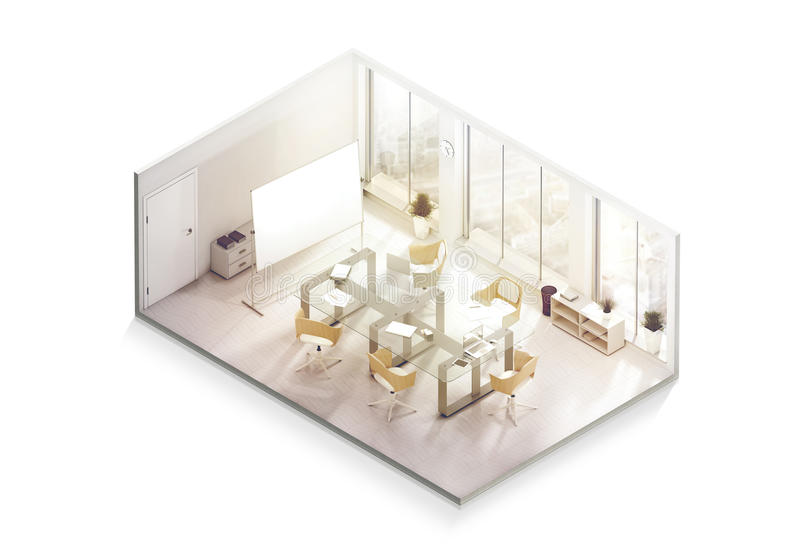 Maquette de conception intérieure de bureau à l'intérieur, vue isométrique photos stock