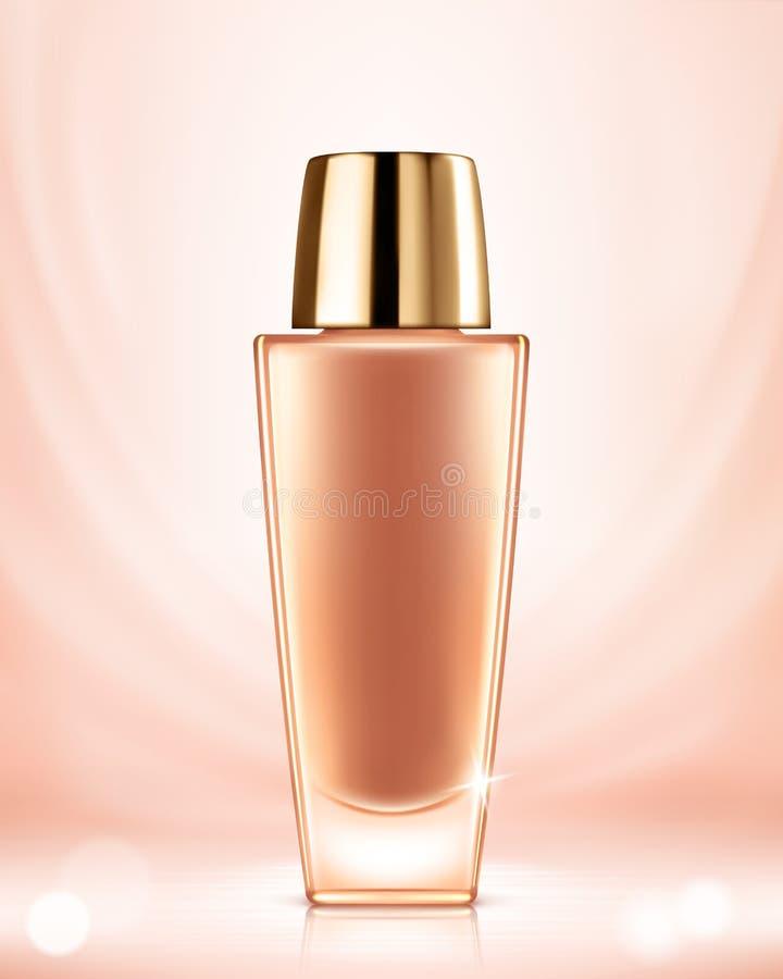 Maquette de conteneur de base, paquet cosmétique de bouteille Liquide beige de base Renivellement cosmétique illustration libre de droits