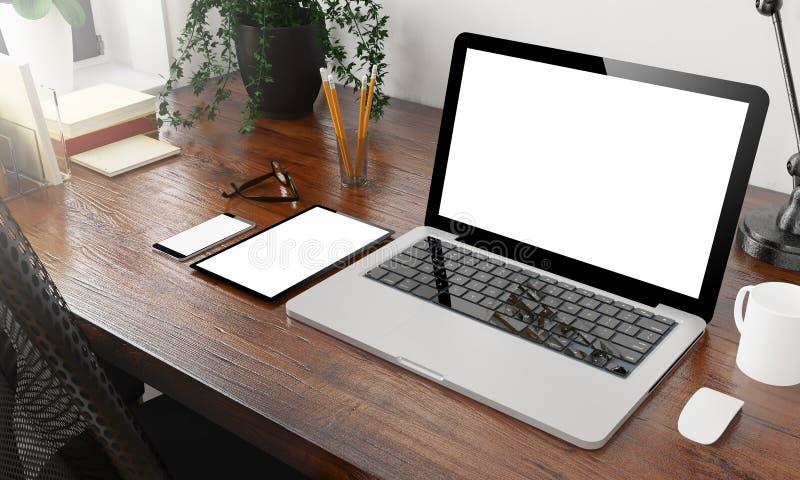 maquette de dispositifs sur le bureau en bois photographie stock
