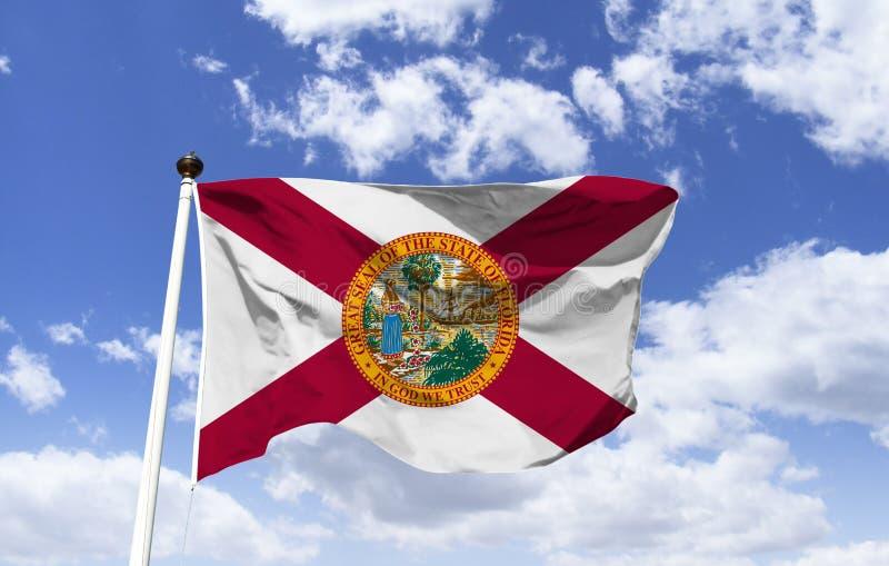 Maquette de drapeau de la Floride dans le vent illustration de vecteur