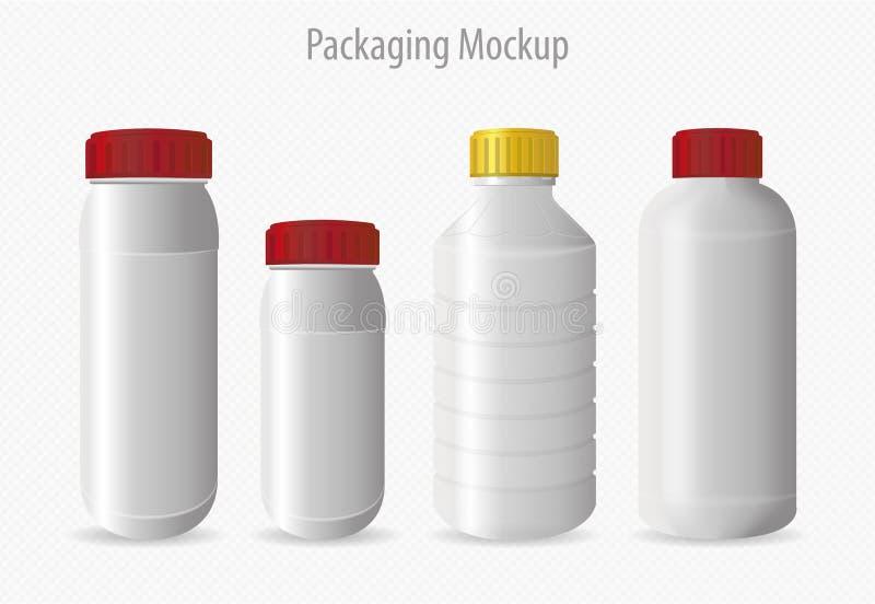 Maquette de empaquetage de récipient en plastique de bouteille illustration stock