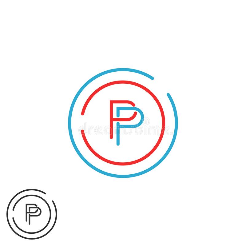 Maquette de logo de lettre du monogramme P, calibre mince d'élément de conception de cadre de cercle de ligne de hippie moderne i illustration de vecteur