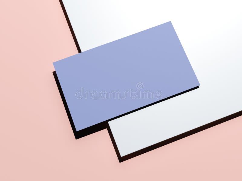maquette de marquage à chaud Bleu-rose avec la feuille de papier et de carte de visite professionnelle de visite rendu 3d illustration stock