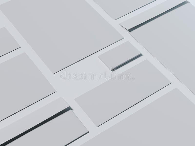 Maquette de marquage à chaud grise avec des cartes de visite professionnelle de visite rendu 3d illustration stock