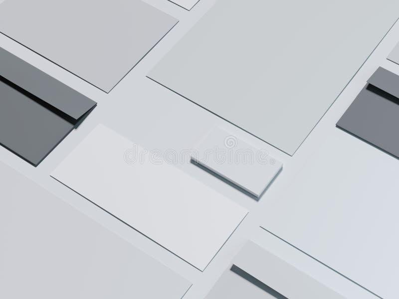 Maquette de marquage à chaud grise avec les enveloppes foncées rendu 3d illustration libre de droits