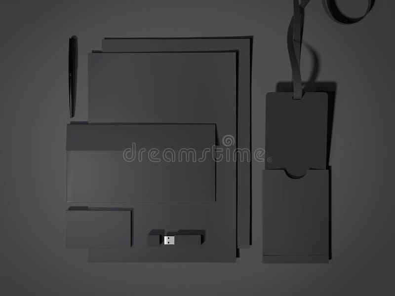 Maquette de marquage à chaud noire rendu 3d illustration stock