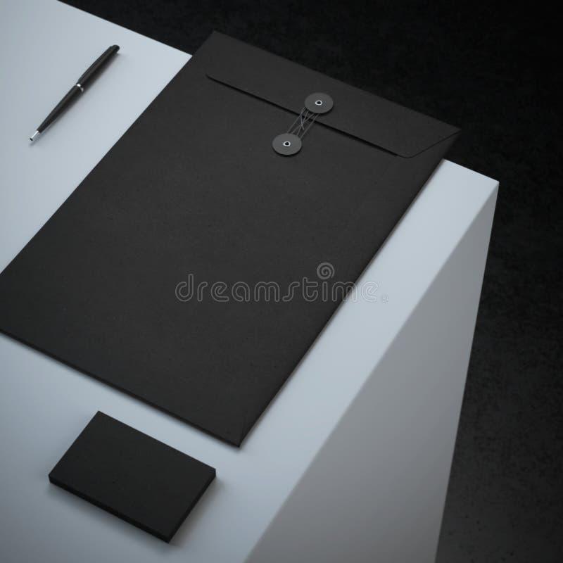 Maquette de marquage à chaud noire sur le podium illustration stock