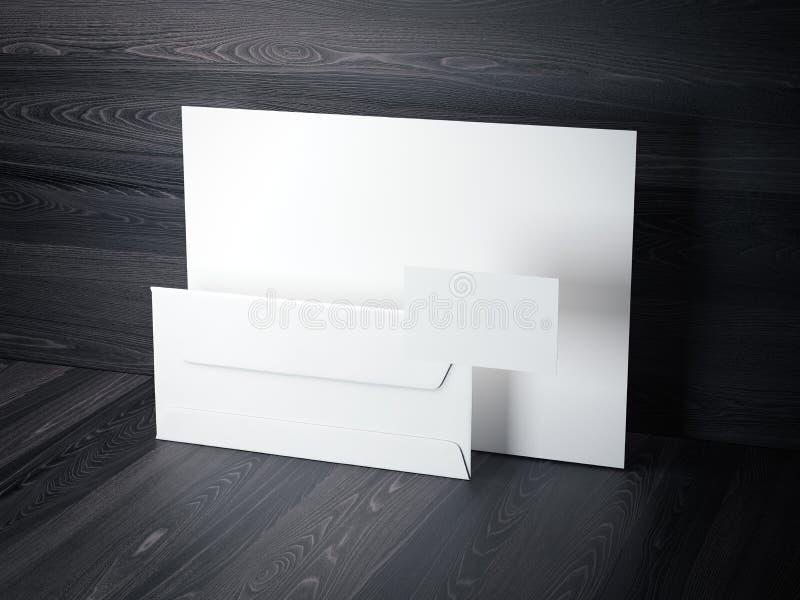 Maquette de marquage à chaud sur le plancher en bois foncé rendu 3d illustration libre de droits