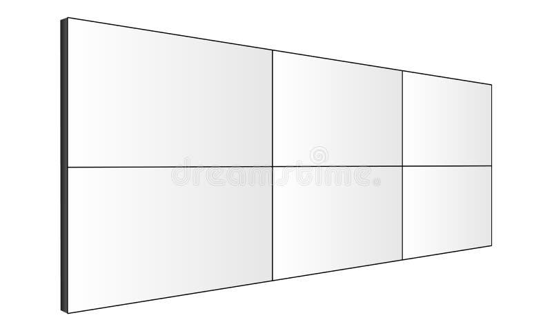 Maquette de mur de vidéo d'affichage à cristaux liquides - vue de côté de perspective illustration de vecteur
