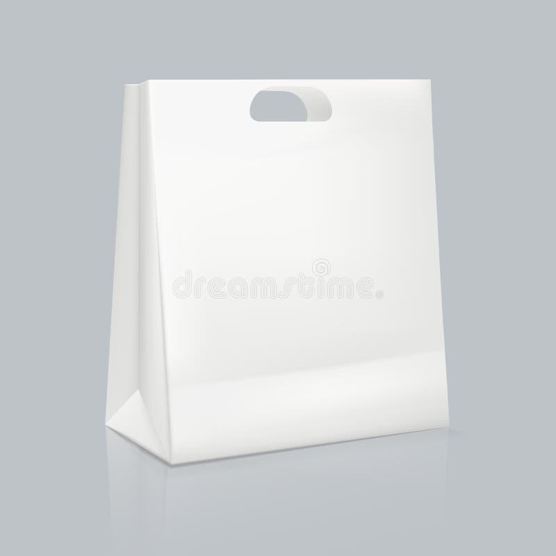 Maquette de sac de papier carr? blanc r?aliste Emballage d'identit? d'entreprise illustration stock
