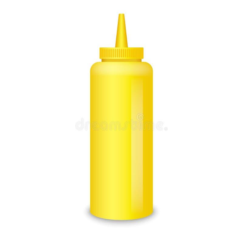 Maquette de sauce à bouteille de moutarde, style réaliste illustration libre de droits