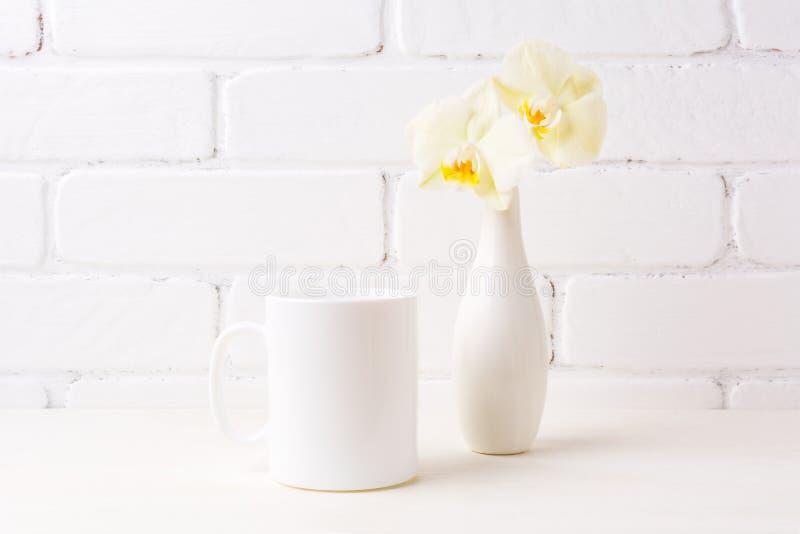 Maquette de tasse de café blanc avec l'orchidée jaune molle dans le vase images libres de droits