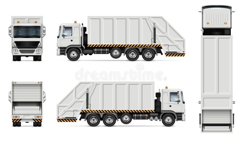 Maquette de vecteur de camion à ordures illustration stock