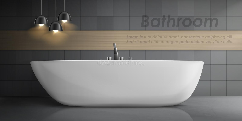 Maquette de vecteur d'intérieur moderne de salle de bains illustration de vecteur