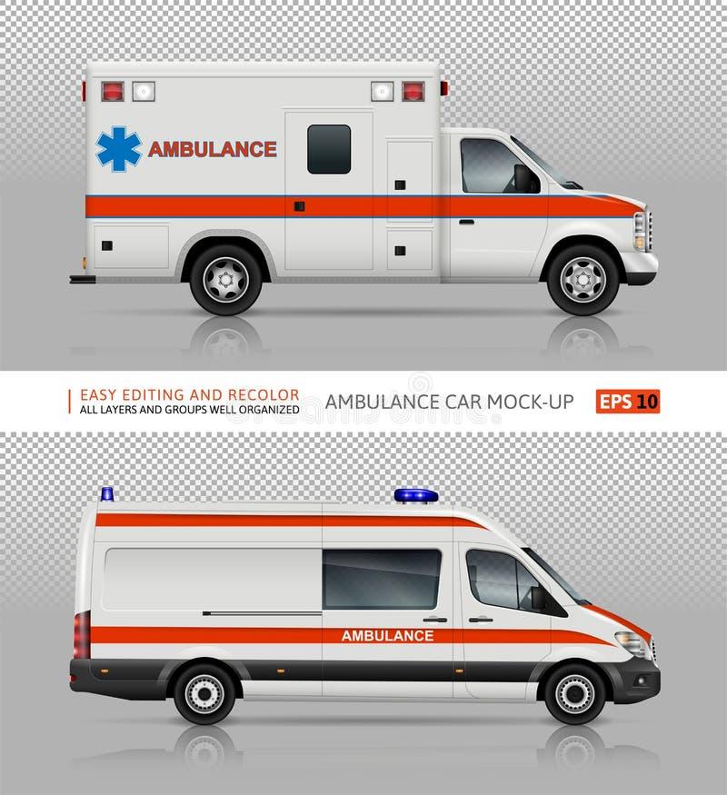 Maquette de vecteur de voitures d'ambulance illustration libre de droits
