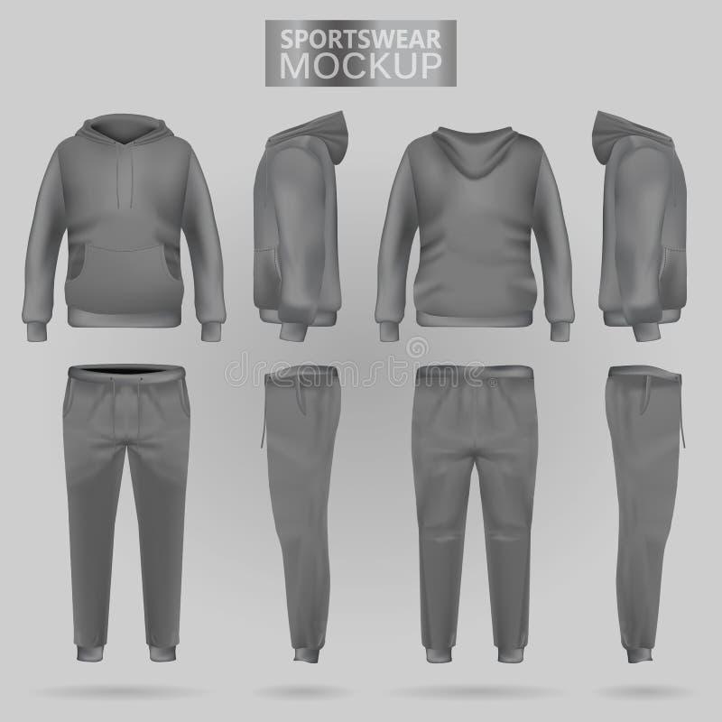 Maquette du hoodie et des pantalons gris de vêtements de sport dans quatre dimensions illustration libre de droits