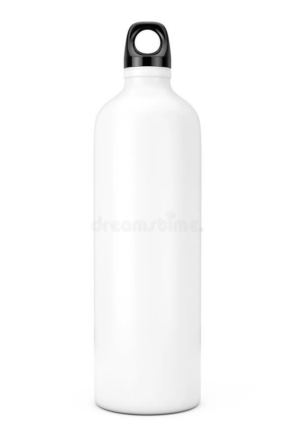 Maquette en aluminium blanche de bouteille de sport aquatique de vélo rendu 3d illustration stock
