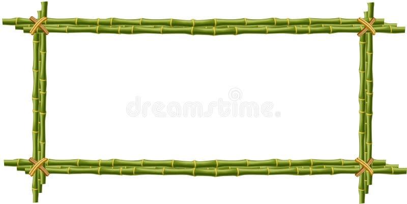 Maquette en bambou, frontière, calibre, cadre de photo sur le backgrou blanc illustration stock