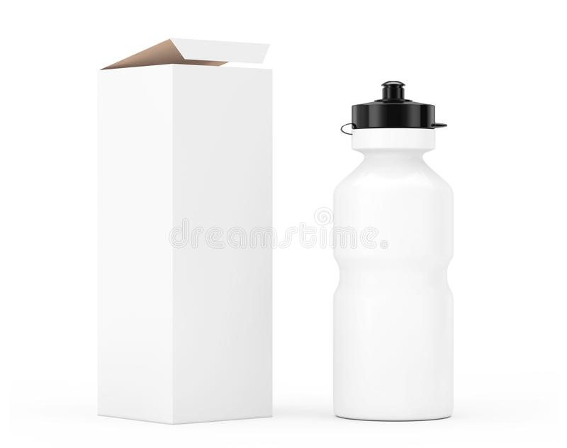 Maquette en plastique de bouteille d'eau de sport blanc avec le carton Papier d'emballage PAP illustration de vecteur