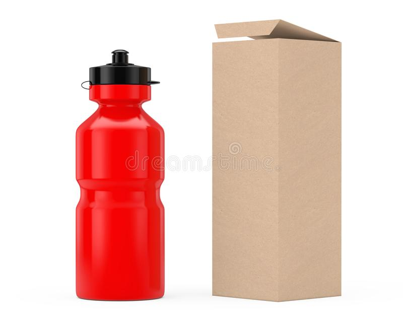 Maquette en plastique de bouteille d'eau de sport rouge avec le papier d'emballage de carton illustration stock