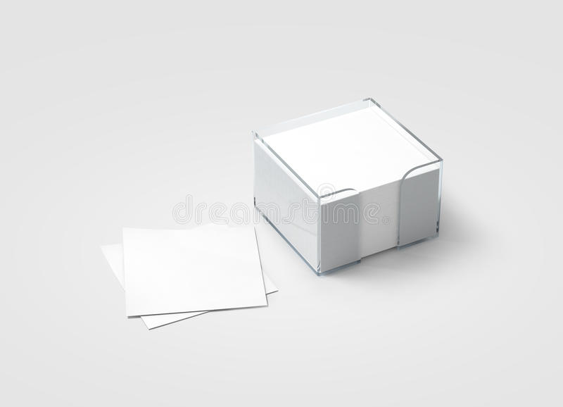 Maquette en plastique de support d'autocollant de bloc blanc vide de note photos libres de droits