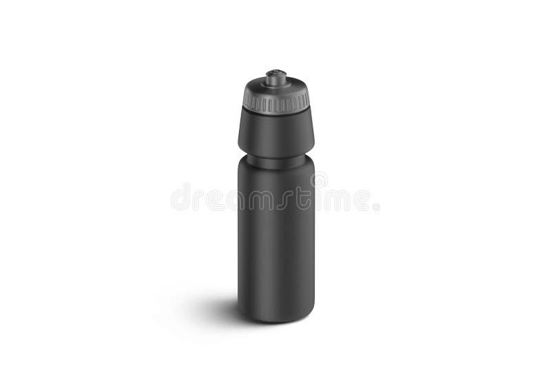 Maquette en plastique noire de bouteille de sport de blanc, vue de face, d'isolement images stock