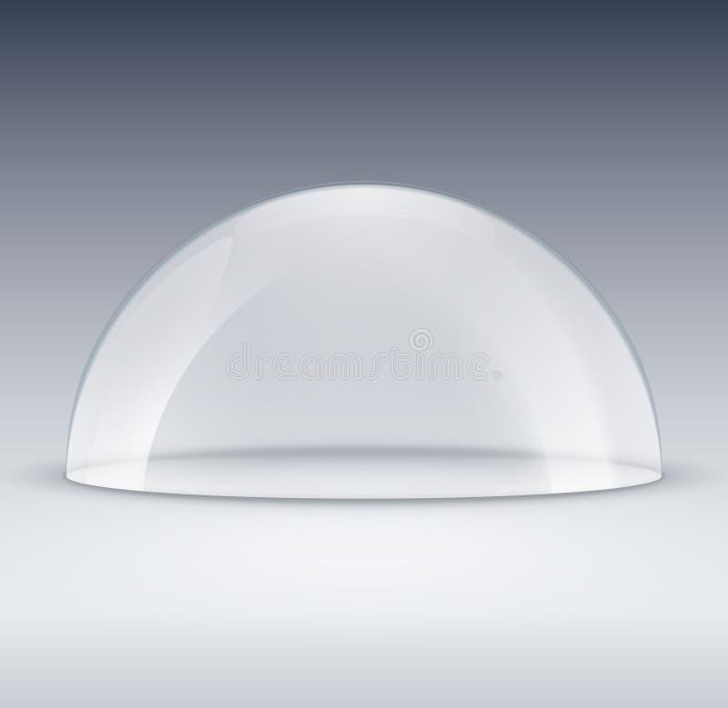 Maquette en verre de récipient de dôme Couverture en plastique de modèle de dôme pour l'exposition d'isolement Dôme transparent d illustration stock
