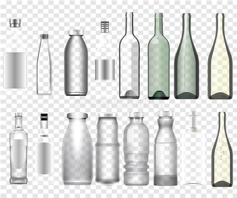 Maquette epmty réaliste de bouteilles illustration stock