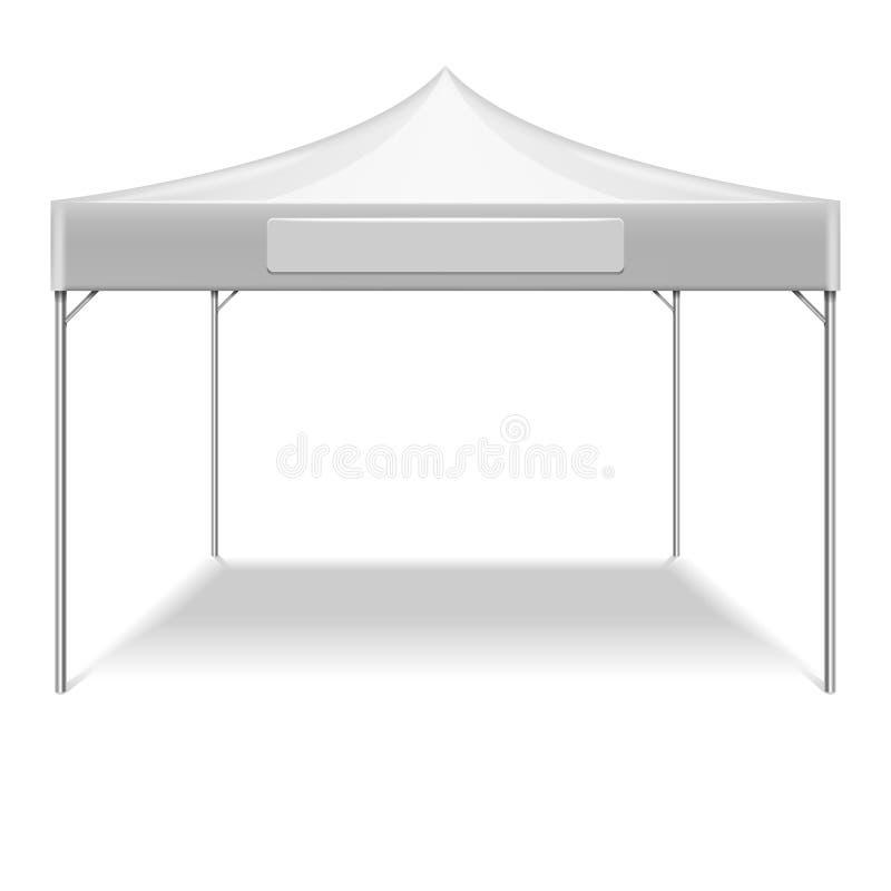 Maquette extérieure blanche réaliste de vecteur de tente de partie de pliage illustration de vecteur