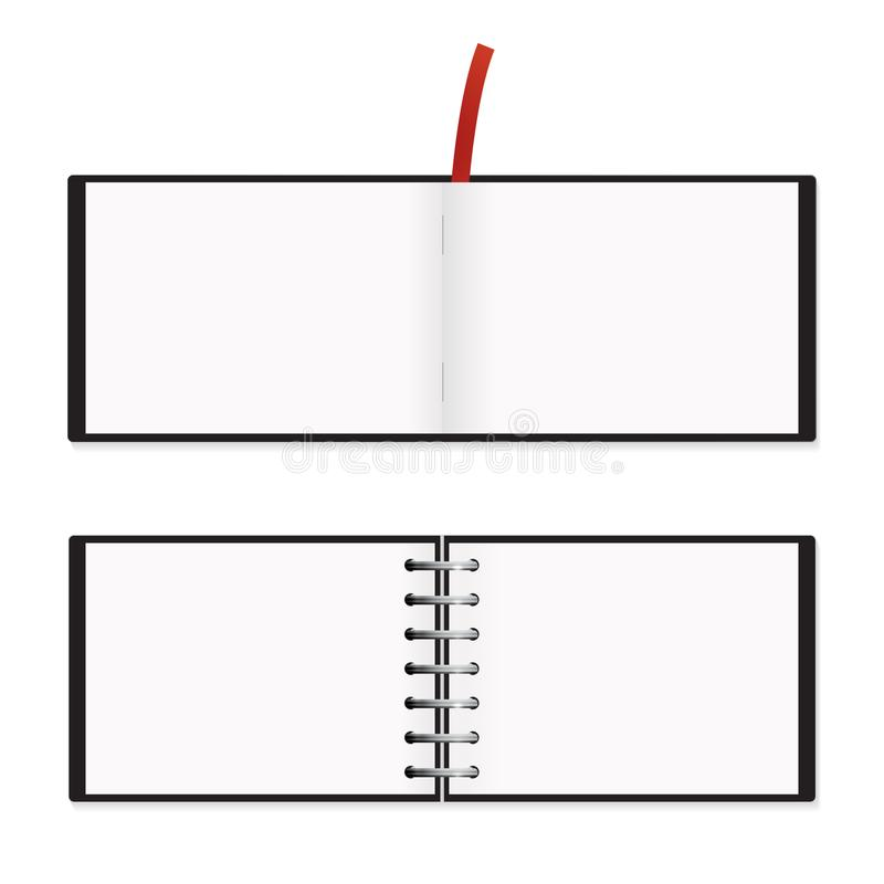 Maquette horizontale du bloc-notes A5 d'isolement illustration stock