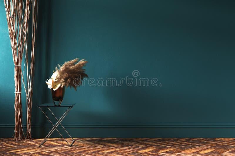 Maquette intérieure à la maison avec les rideaux en corde et le bouquet des fleurs sèches sur la table illustration stock