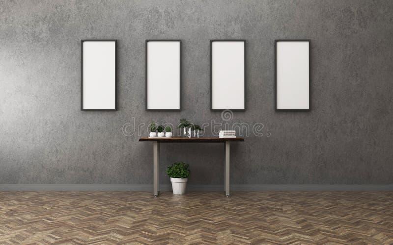 Maquette intérieure d'affiche avec la table en bois de cadre vide dans la chambre illustration stock