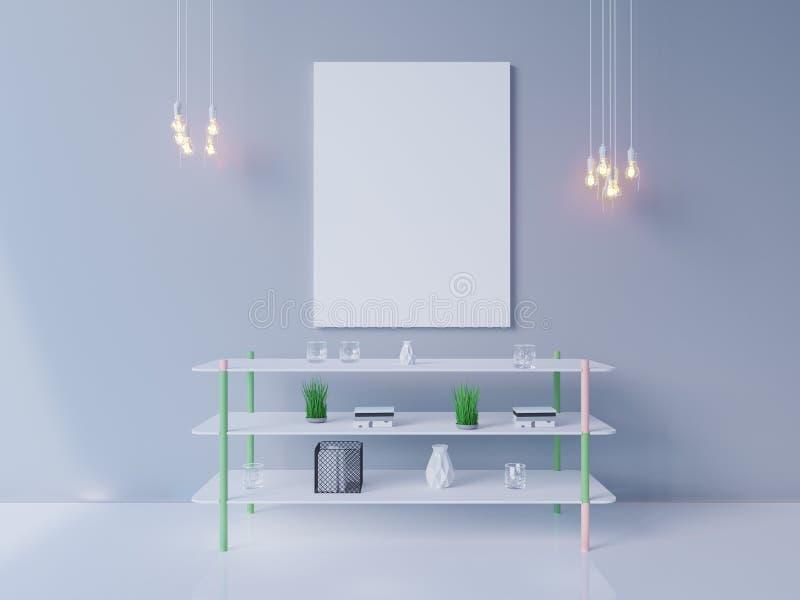 Maquette intérieure d'affiche avec le cadre vide et usines dans la chambre rendu 3d Illustration illustration libre de droits