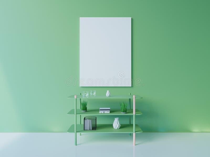 Maquette intérieure d'affiche avec le cadre vide et usines dans la chambre rendu 3d Illustration photos stock