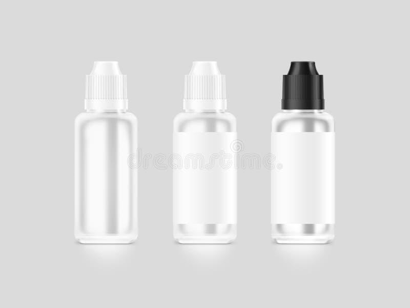 Maquette liquide de bouteille de vape blanc vide d'isolement, chemin de coupure, illustration libre de droits