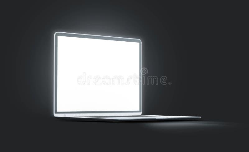 Maquette lumineuse blanche d'écran d'ordinateur portable de blanc, vue de côté illustration libre de droits