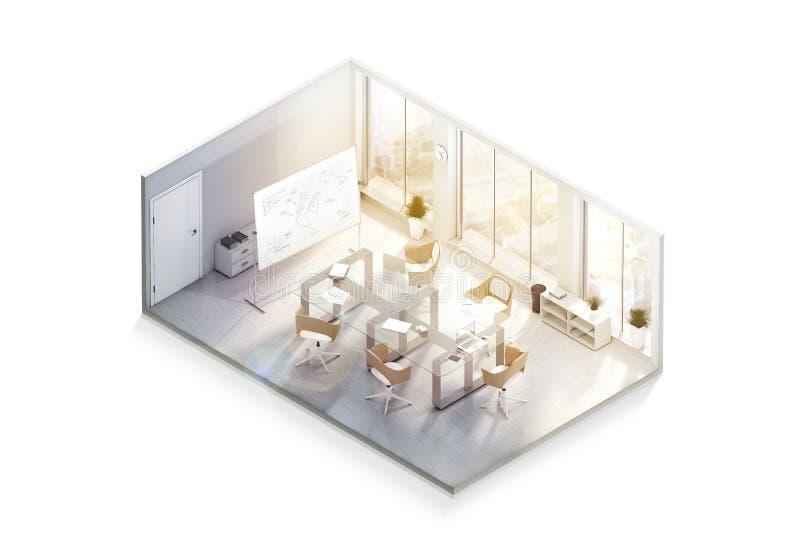 Maquette moderne de conception intérieure de bureau, vue isométrique illustration libre de droits