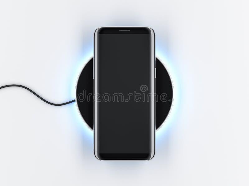 Maquette moderne de Smartphone avec l'écran frameless sur le dispositif de remplissage sans fil illustration stock