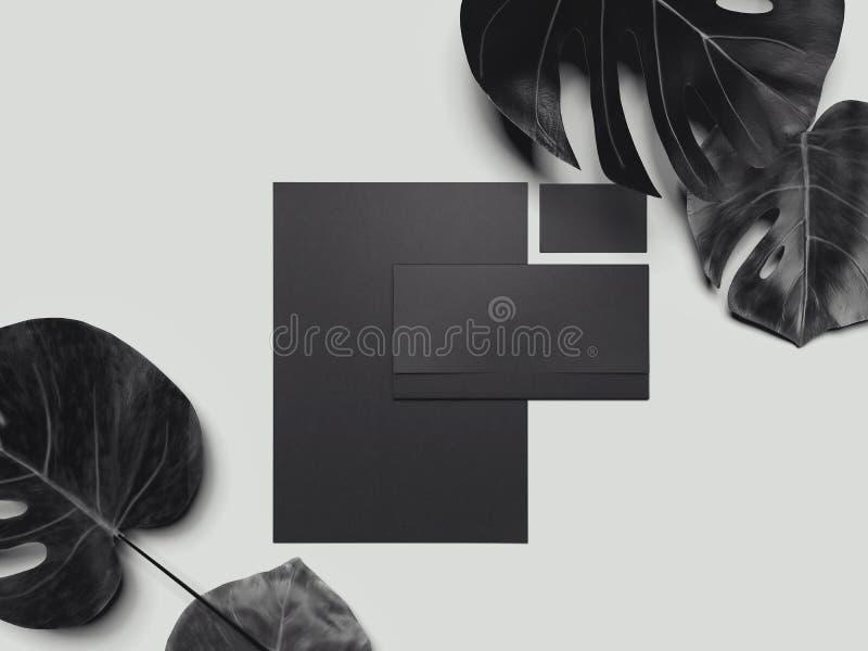 Maquette noire de papeterie, calibre pour l'identité de marquage à chaud rendu 3d illustration de vecteur