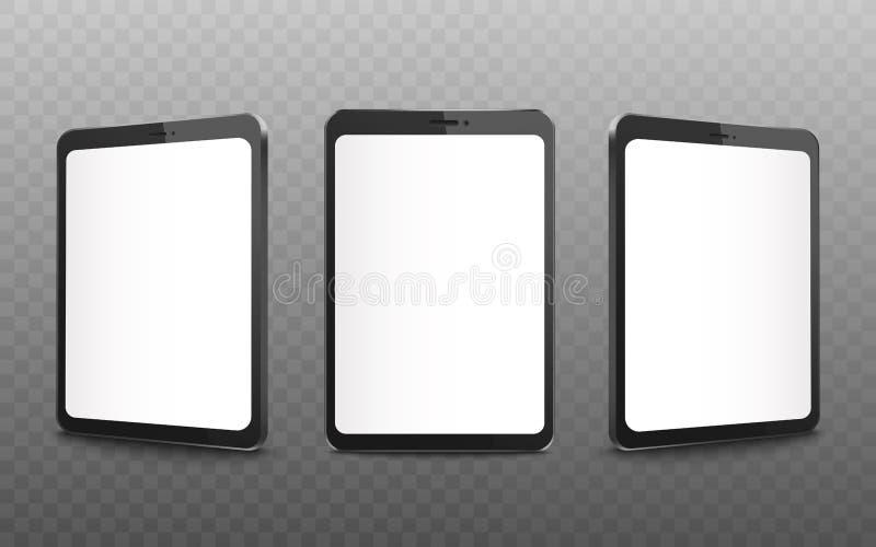 Maquette noire réaliste de comprimé réglée avec l'écran blanc vide de l'avant et de la vue de côté illustration de vecteur