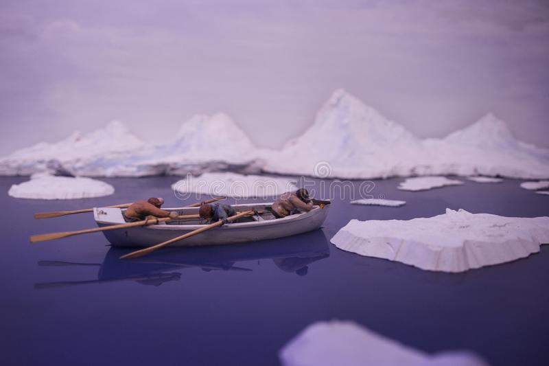 Maquette of an hunting boat in the arctic royalty free stock images