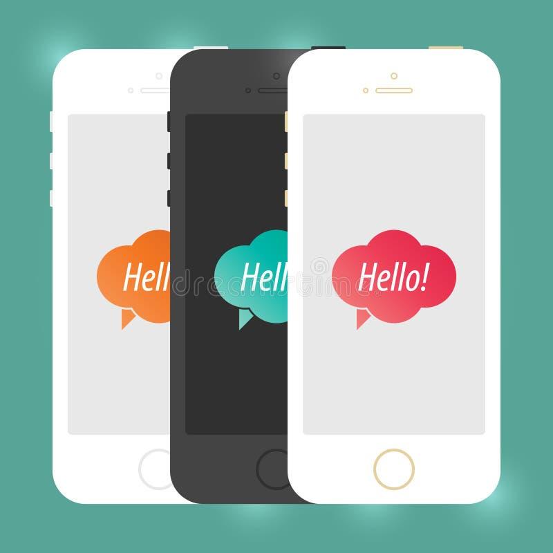 Maquette plate de Smartphone de périphérique mobile d'iPhone Téléphone portable créatif d'isolement Conception d'illustration de  illustration de vecteur