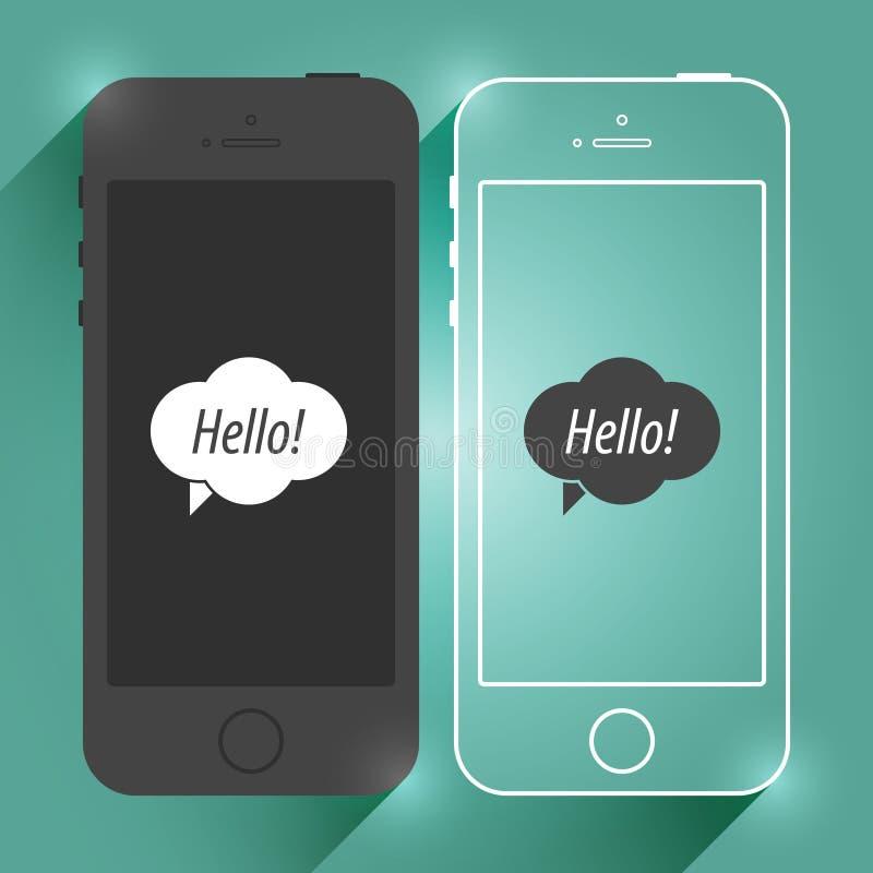 Maquette plate de Smartphone de périphérique mobile d'iPhone Téléphone portable moderne d'isolement Conception d'illustration de  image libre de droits