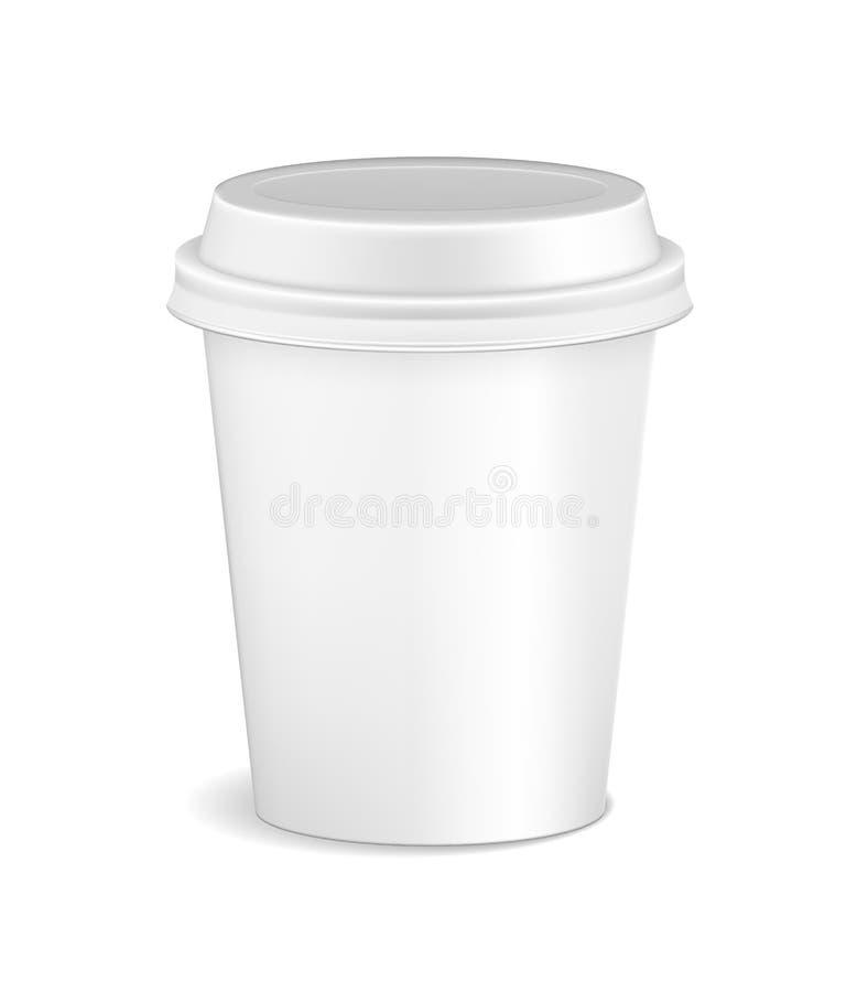 Maquette réaliste blanche vide de tasse de café d'isolement sur le fond blanc Tasse de récipient en plastique de Latte, de moka o illustration stock
