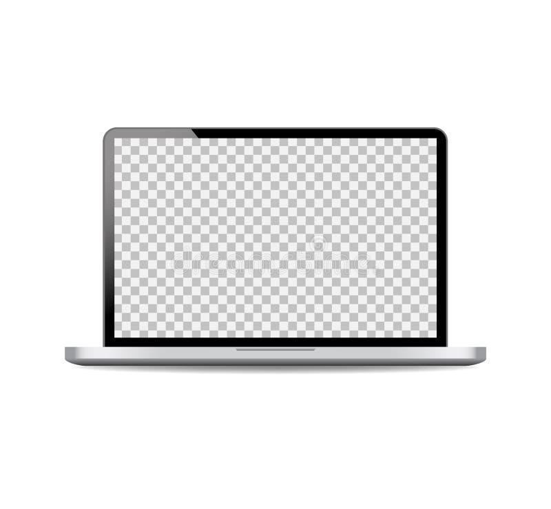 Maquette réaliste d'ordinateur portable avec l'écran ouvert Ordinateur portable noir d'ordinateur sur le fond d'isolement Vecteur illustration libre de droits