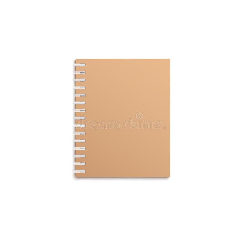 Maquette réaliste de carnet de Brown avec la couverture vide, le livre vide avec la frontière en spirale et le livre à couverture illustration de vecteur