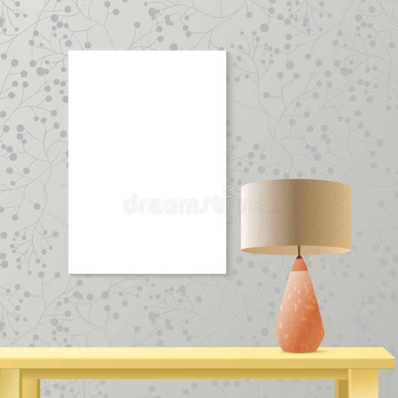 Maquette réaliste de pièce intérieure avec le papier d'affiche sur le mur illustration stock