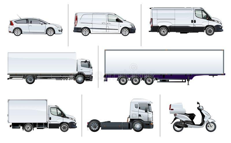 Maquette réaliste de transport de la livraison de vecteur illustration stock