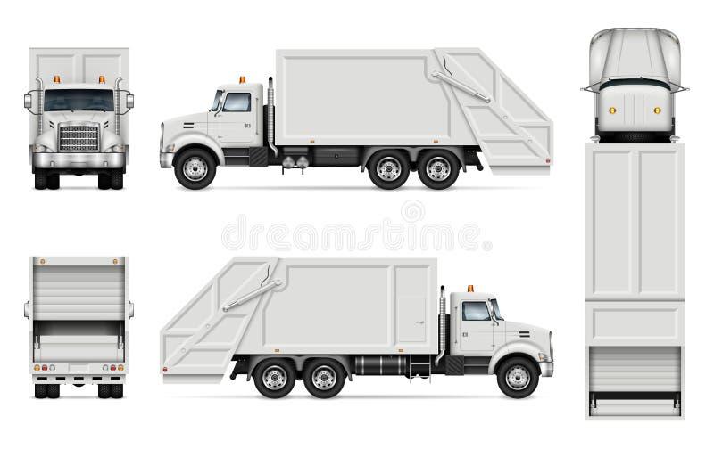 Maquette réaliste de vecteur de camion à ordures illustration stock